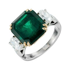 Peter Suchy 7.50 Carat Emerald Diamond Gold Platinum Engagement Ring