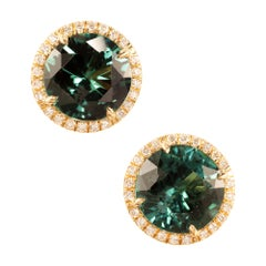 Peter Suchy 7.57 Carat Tourmaline Diamond Halo Yellow Gold Earrings