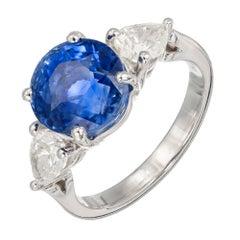 Peter Suchy 7.61 Carat Sapphire Diamond Platinum Three-Stone Engagement Ring