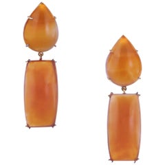 Peter Suchy 77.57 Carat Orange Chalcedony Yellow Gold Dangle Earrings