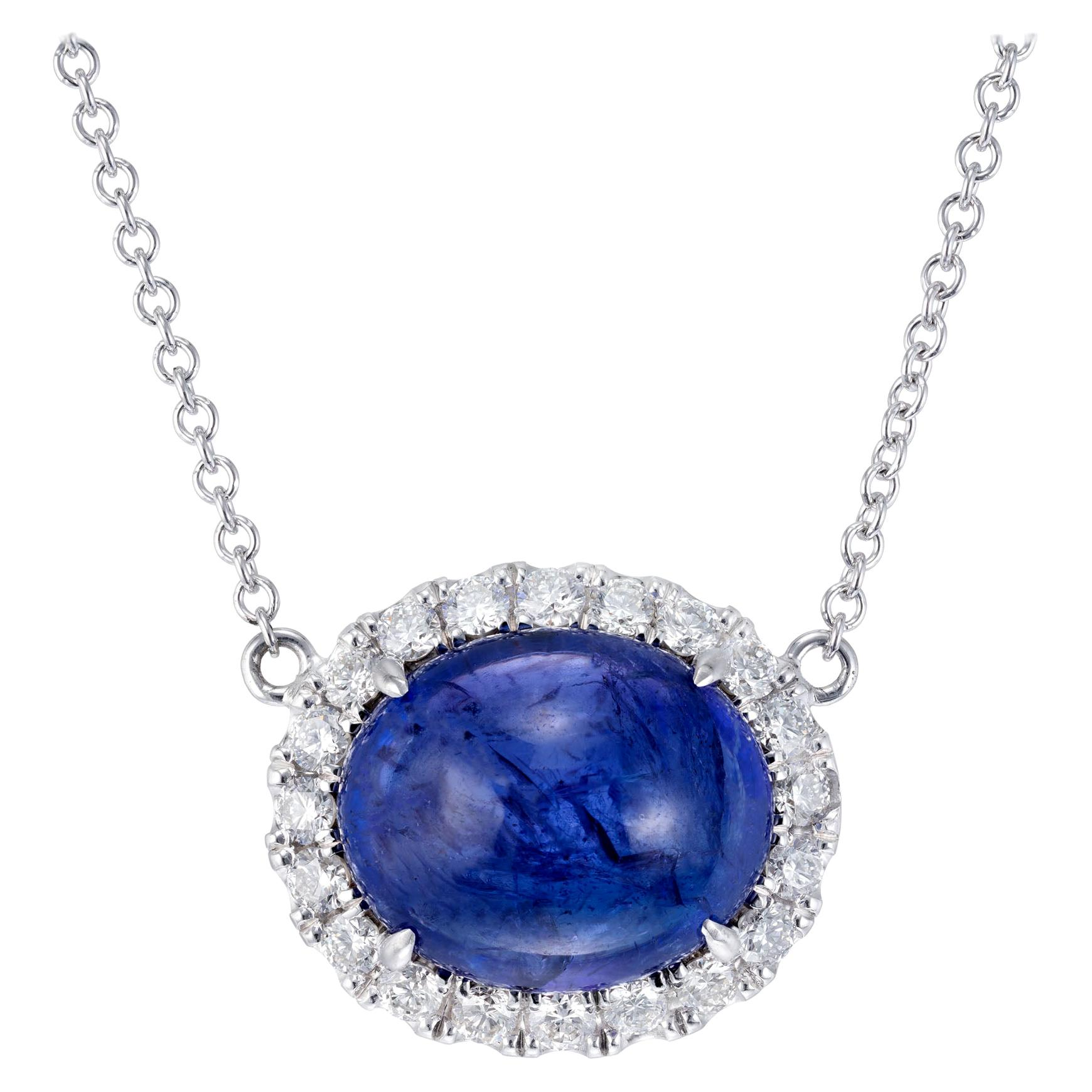 Peter Suchy 8.00 Carat Cabochon Tanzanite Diamond Halo Gold Pendant Necklace
