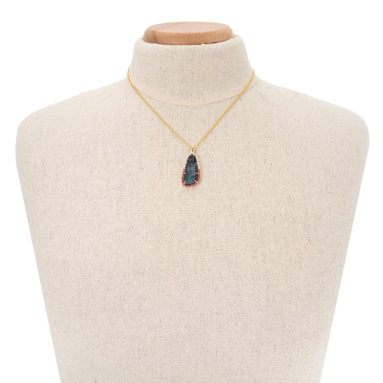 Peter Suchy 8.16 Carat Boulder Opal Ruby Diamond Yellow Gold Pendant Necklace In New Condition For Sale In Stamford, CT
