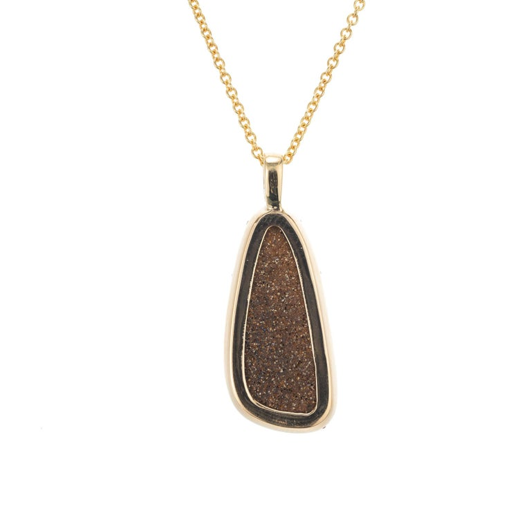 Women's Peter Suchy 8.16 Carat Boulder Opal Ruby Diamond Yellow Gold Pendant Necklace For Sale
