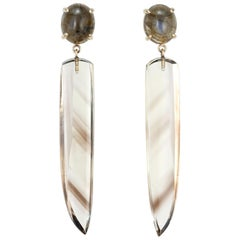 Peter Suchy 8.99 Carat Labradorite Smokey Quartz Yellow Gold Dangle Earrings