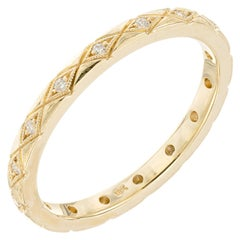Peter Suchy .9 Carat Diamond Yellow Gold Eternity Wedding Band Ring
