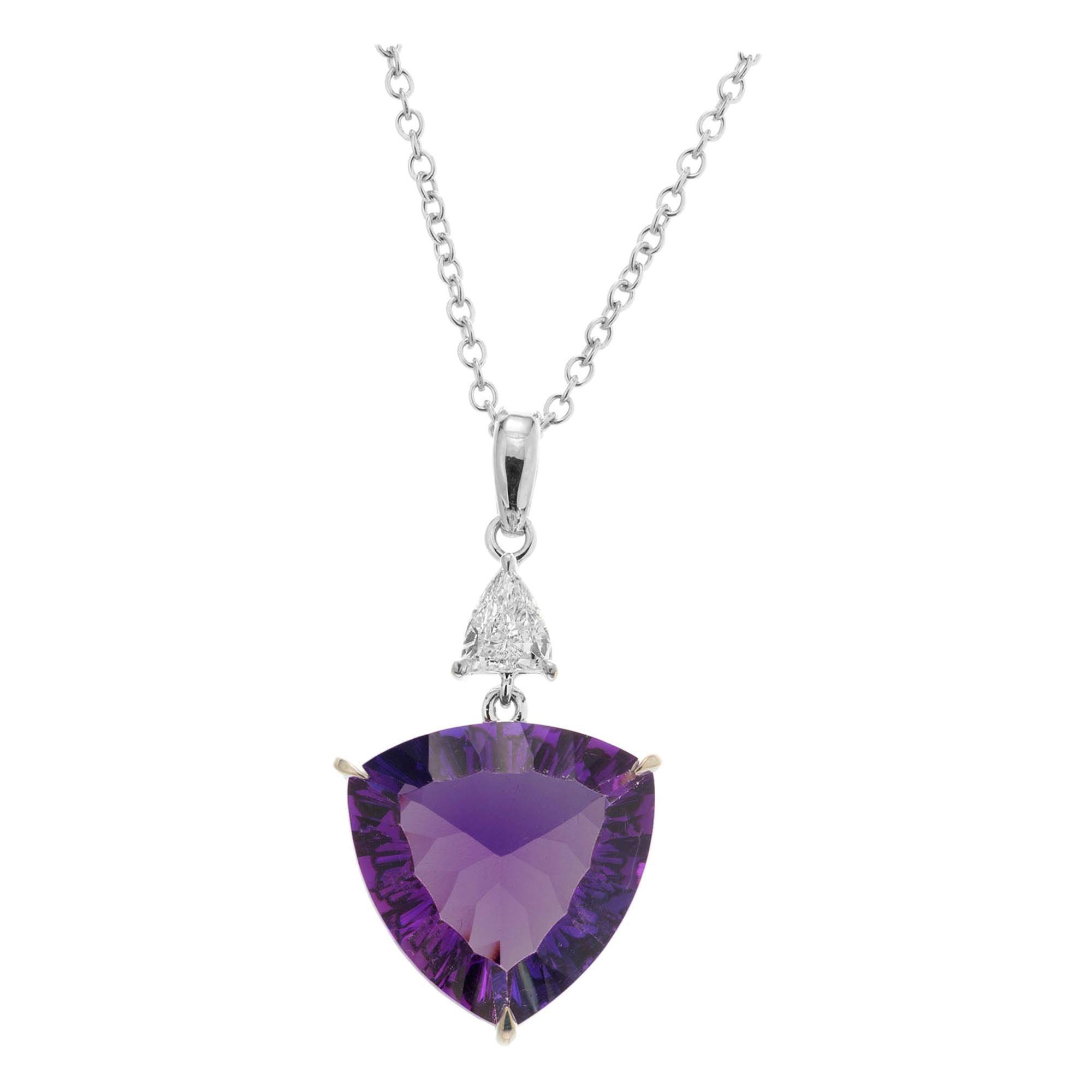Peter Suchy 9.25 Carat Amethyst Diamond White Gold Pendant Necklace