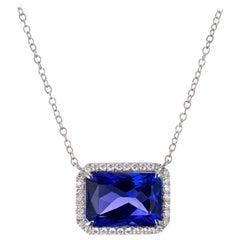 Peter Suchy 9.26 Carat Tanzanite Diamond Halo White Gold Pendant Necklace