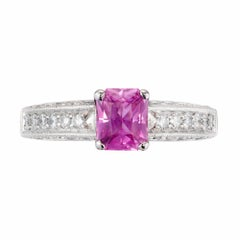 Peter Suchy .93 Carat Pink Sapphire Diamond Platinum Engagement Ring