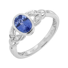 Peter Suchy .93 Carat Sapphire Diamond White Gold Ring