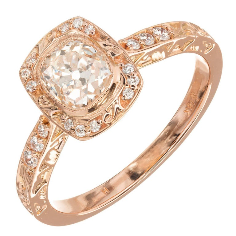 Peter Suchy .96 Carat Diamond Halo Rose Gold Engagement Ring