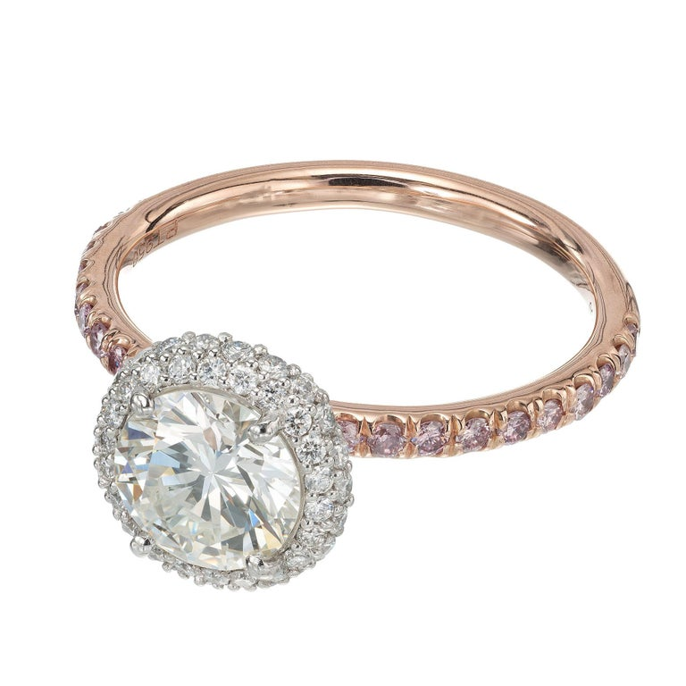 Round Cut Peter Suchy .96 Carat Round Diamond Halo Rose Gold Solitaire Engagement Ring For Sale
