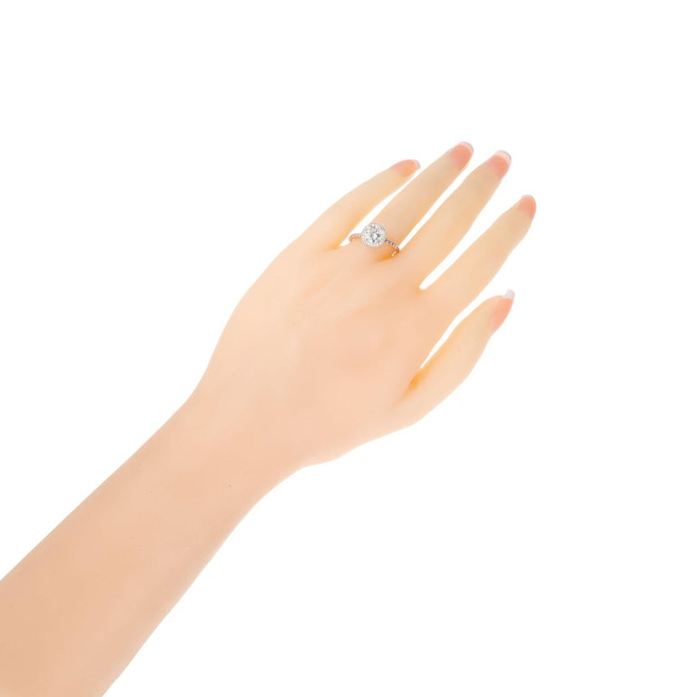Women's Peter Suchy .96 Carat Round Diamond Halo Rose Gold Solitaire Engagement Ring For Sale
