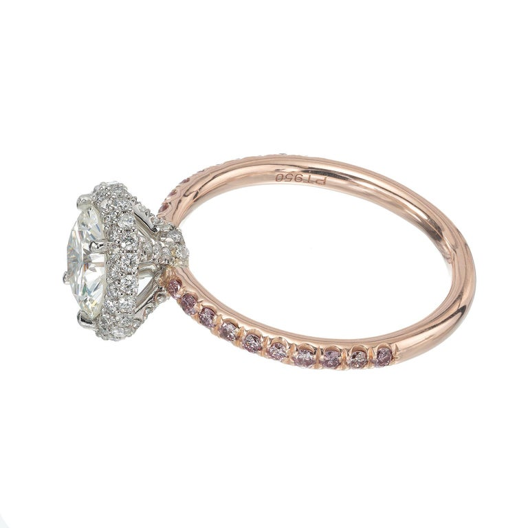 Peter Suchy .96 Carat Round Diamond Halo Rose Gold Solitaire Engagement Ring For Sale 1