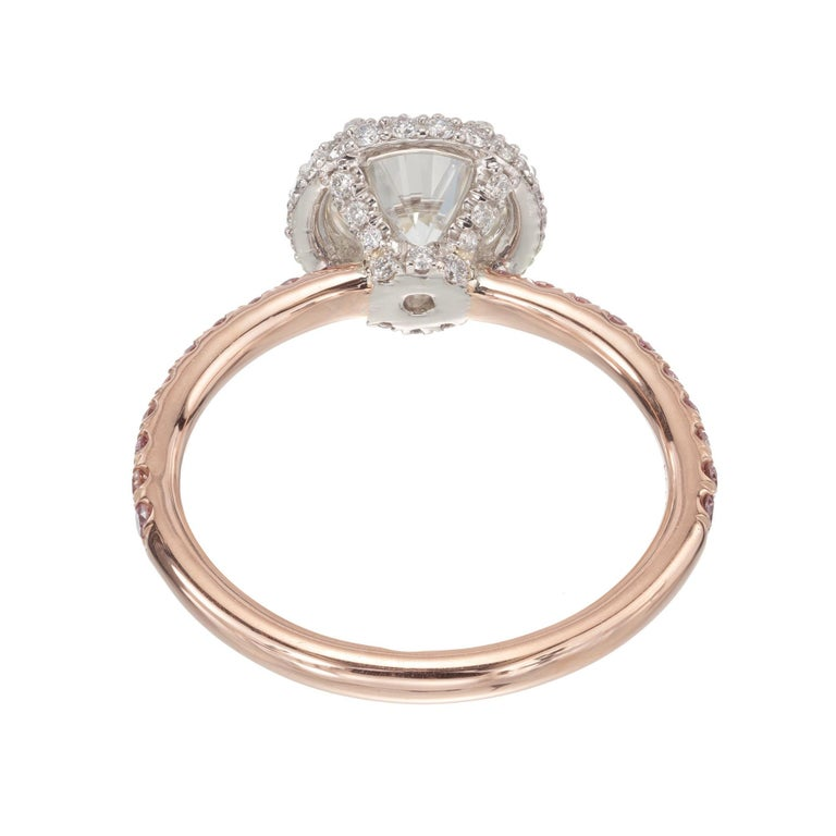 Peter Suchy .96 Carat Round Diamond Halo Rose Gold Solitaire Engagement Ring For Sale 2