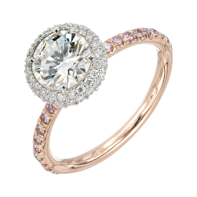 Peter Suchy .96 Carat Round Diamond Halo Rose Gold Solitaire Engagement Ring For Sale