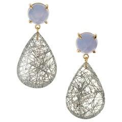 Peter Suchy 9.61 Carat Blue Chalcedony Tourmaline Quartz Gold Dangle Earrings