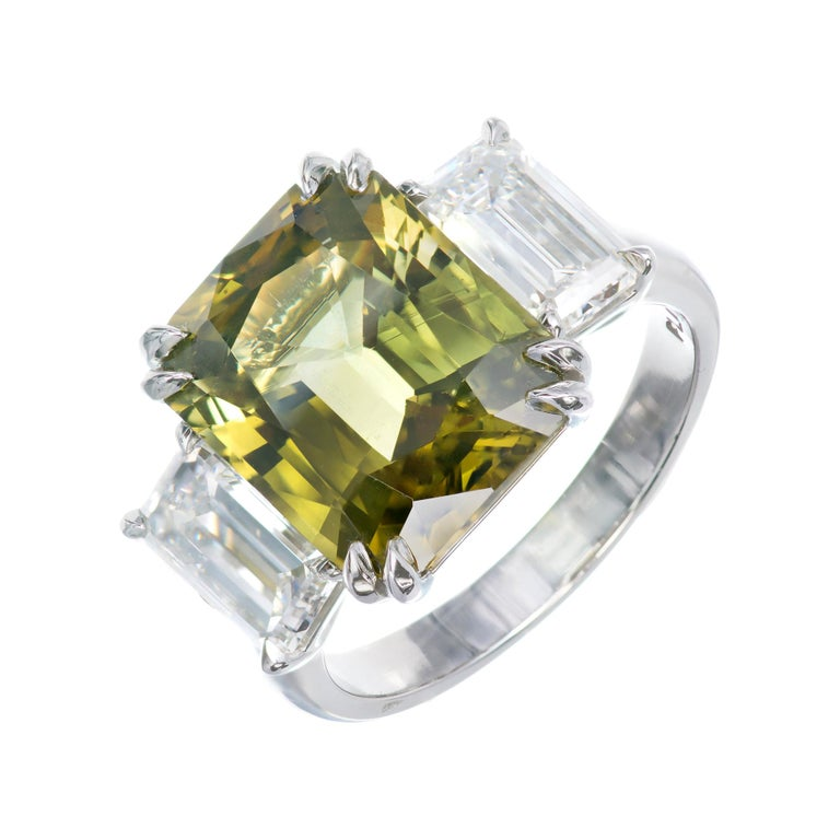 Peter Suchy 9.65 Carat Alexandrite Diamond Platinum Engagement Ring For Sale