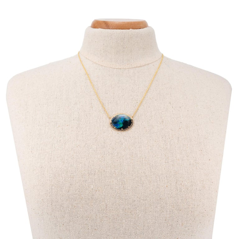 Peter Suchy 9.94 Carat Black Opal Sapphire Diamond Gold Pendant Necklace In New Condition For Sale In Stamford, CT