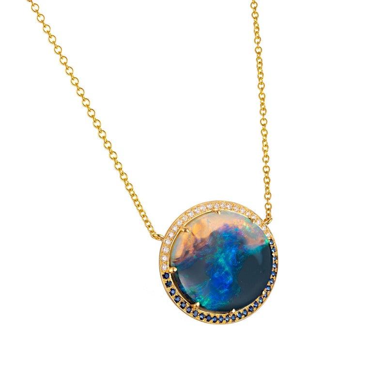 Women's Peter Suchy 9.94 Carat Black Opal Sapphire Diamond Gold Pendant Necklace For Sale
