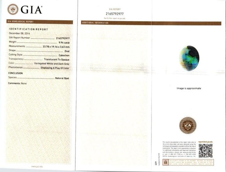 Peter Suchy 9.94 Carat Black Opal Sapphire Diamond Gold Pendant Necklace For Sale 1