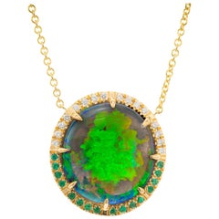 Peter Suchy AGL Certified 13.62 Opal Diamond Yellow Gold Pendant Necklace