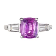 Peter Suchy AGL Certified 2.67 Carat Pink Sapphire Diamond Platinum Ring