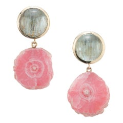 Peter Suchy Aqua Pink Rhodochrosite Yellow Gold Dangle Earrings