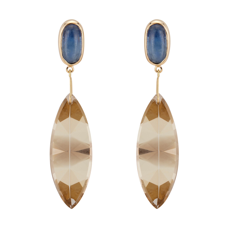 Peter Suchy Cyanite Smoky Quartz Yellow Gold Dangle Earrings