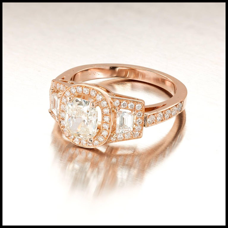 Peter Suchy 1.03 Carat Diamond Gold Triple Halo Three-Stone Engagement Ring In Good Condition For Sale In Stamford, CT