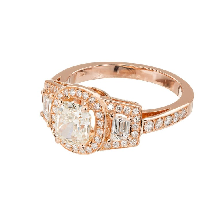 Peter Suchy 1.03 Carat Diamond Gold Triple Halo Three-Stone Engagement Ring For Sale 2
