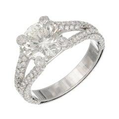 Peter Suchy EGL 2.28 Carat Diamond Split Shank Platinum Engagement Ring
