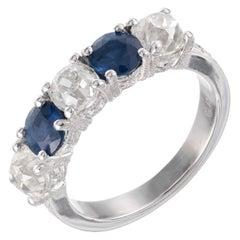 Peter Suchy EGL 3.13 Carat Diamond Sapphire Platinum Wedding Band Ring