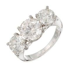 Peter Suchy EGL 5.84 Carat Three-Stone Diamond Platinum Engagement Ring