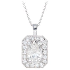 Peter Suchy EGL Certified 1.43 Carat Diamond Platinum Pendant Necklace