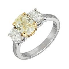 Peter Suchy EGL Certified 1.58 Carat Three-Stone Diamond Gold Engagement Ring