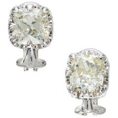 Peter Suchy EGL Certified 3.10 Carat Diamond Platinum Stud Earrings
