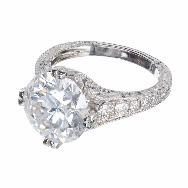 Round Cut Peter Suchy EGL Certified 4.87 Carat Diamond Platinum Engagement Ring For Sale