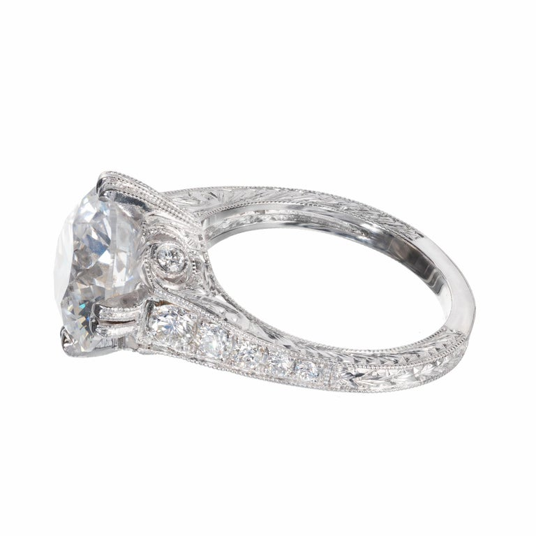 Peter Suchy EGL Certified 4.87 Carat Diamond Platinum Engagement Ring In New Condition For Sale In Stamford, CT