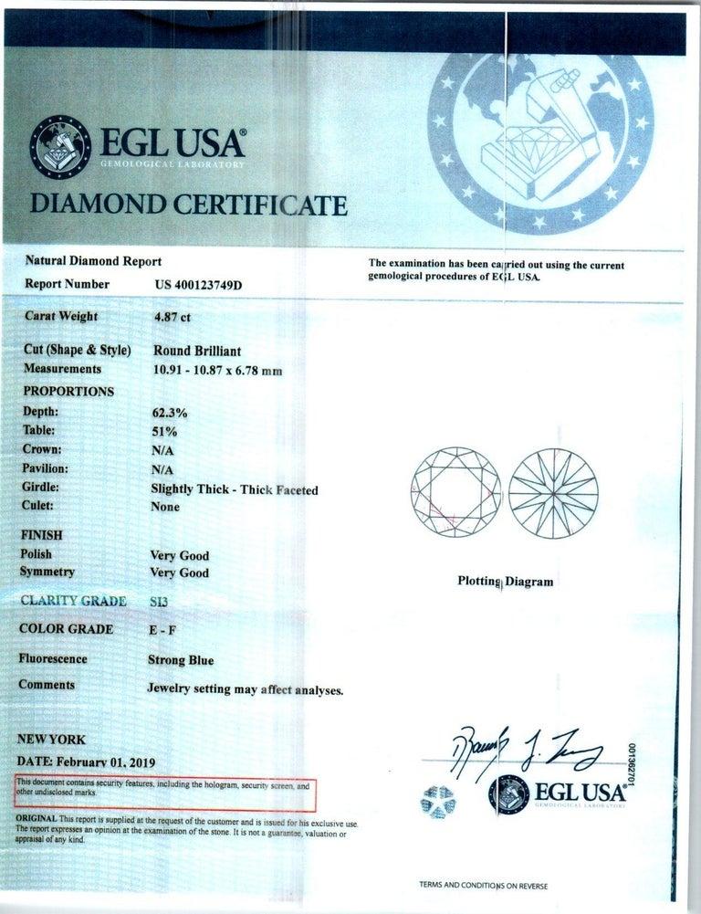 Peter Suchy EGL Certified 4.87 Carat Diamond Platinum Engagement Ring For Sale 3