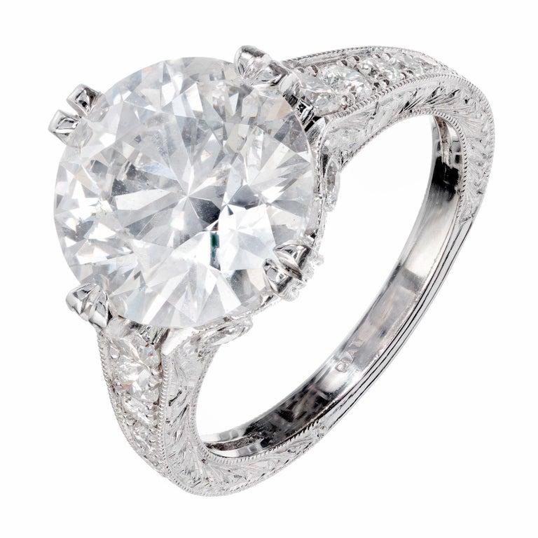Peter Suchy EGL Certified 4.87 Carat Diamond Platinum Engagement Ring For Sale