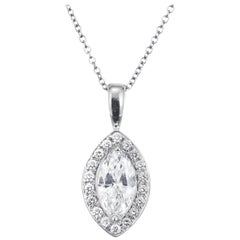 Peter Suchy EGL Certified .70 Carat Marquise Diamond Platinum Pendant Necklace