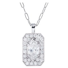 Peter Suchy EGL Certified .82 Marquise Pave Diamond Platinum Pendant Necklace