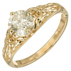 Peter Suchy EGL Certified .92 Carat Diamond Yellow Gold Engagement Ring