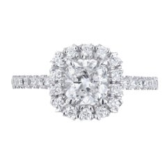 Peter Suchy GIA 1.01 Carat Square Cushion Cut Diamond Platinum Engagement Ring