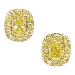 Peter Suchy GIA 1.19 Carat Certified Yellow Diamond Yellow Gold Earrings
