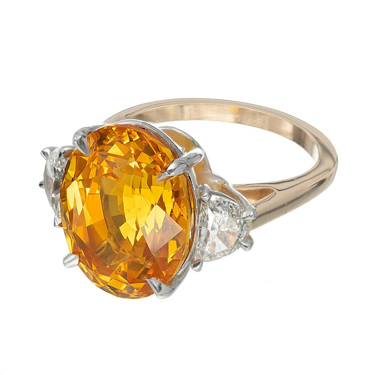Oval Cut Peter Suchy GIA 14.54 Yellow Orange Sapphire Diamond Gold Cocktial Ring For Sale