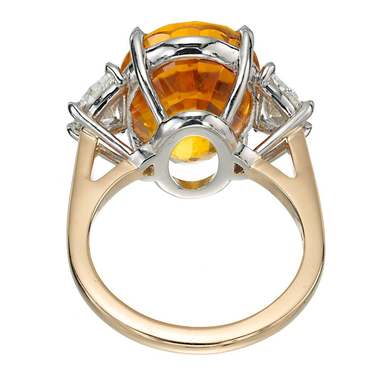 Women's Peter Suchy GIA 14.54 Yellow Orange Sapphire Diamond Gold Cocktial Ring For Sale