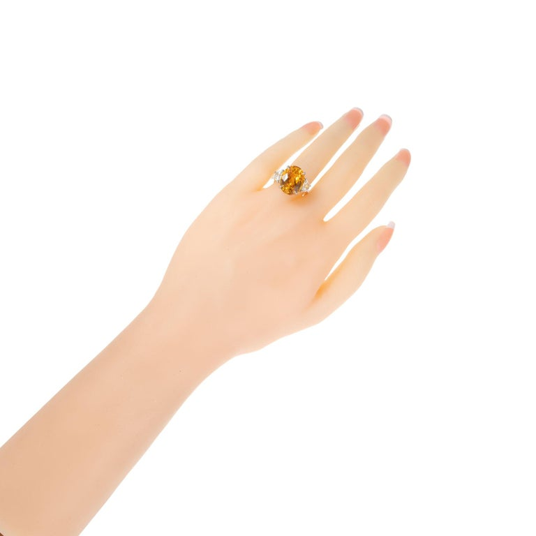 Peter Suchy GIA 14.54 Yellow Orange Sapphire Diamond Gold Cocktial Ring For Sale 2