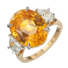 Peter Suchy GIA 14.54 Yellow Orange Sapphire Diamond Gold Cocktial Ring