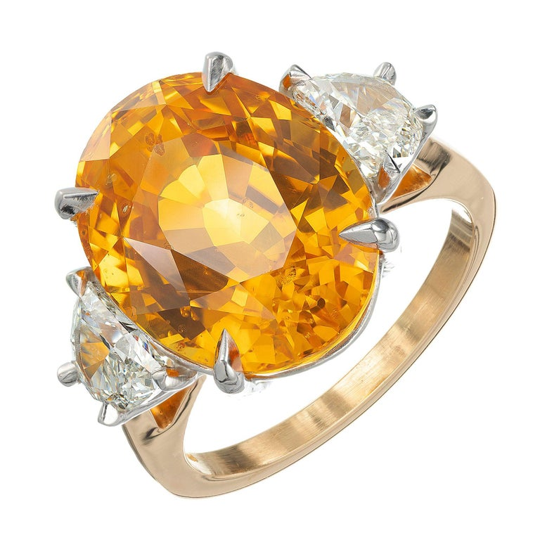 Peter Suchy GIA 14.54 Yellow Orange Sapphire Diamond Gold Cocktial Ring For Sale